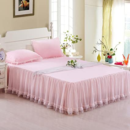 Pink Bed Skirt Queen.Amazon Com Berteri Beautiful Princess Lace Bed Skirts Twin
