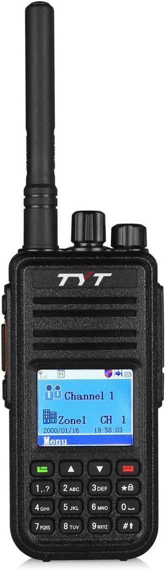 TYT MD-380 DMR Digital Radio Up to 1000 Channels with Programming Cable and 2 Antenna High Gain Antenna included , Black