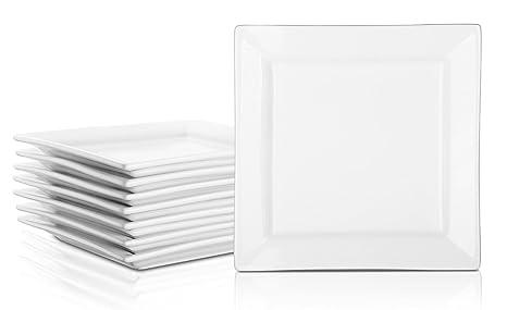DOWAN 20cm Platos cuadrados de porcelana - Platos de ensalada / postre, plato blanco -