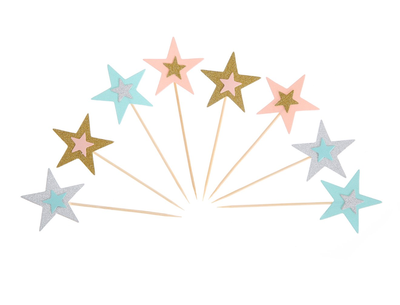 UUPP 40 Pieces Colorful Twinkle Star Cake Topper Party Cocktail Tropical Cupcake Picks for Party Decorations Supplies