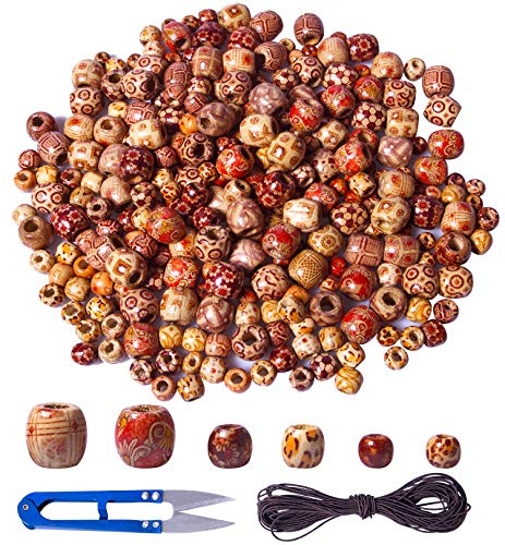 Korlon 300 Pcs - 9mm/11mm/16mm Natural Painted Wooden Beads, Loose Round Wooden Craft Beads, DIY Small Wooden Beads for Jewelry Making, Hair Decoration and Hair Clips -