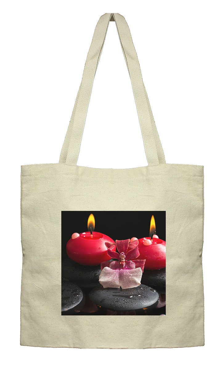 Flat Market Canvas Bag Spa Setting Red Candles Zen Stones Drops