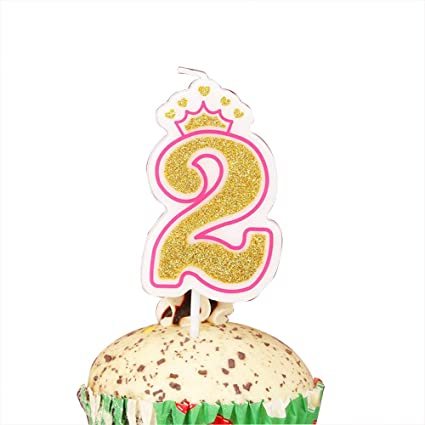 LOVELY BITON Gold 2quot Happy Birthday Candles 0 9 Molded Number For