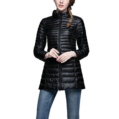 iBaste abrigo de plumas para mujer abrigo de invierno Edredón abrigo plumífero Ultra Ligero, negro