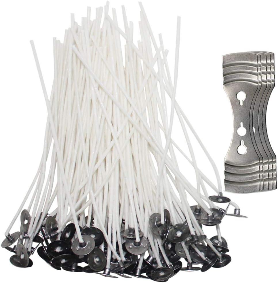 SENHAI 200 mechas de vela con 5 unidades de centrado, mechas de núcleo de algodón preencerado de 4.7 pulgadas con soporte de metal para hacer velas y ...