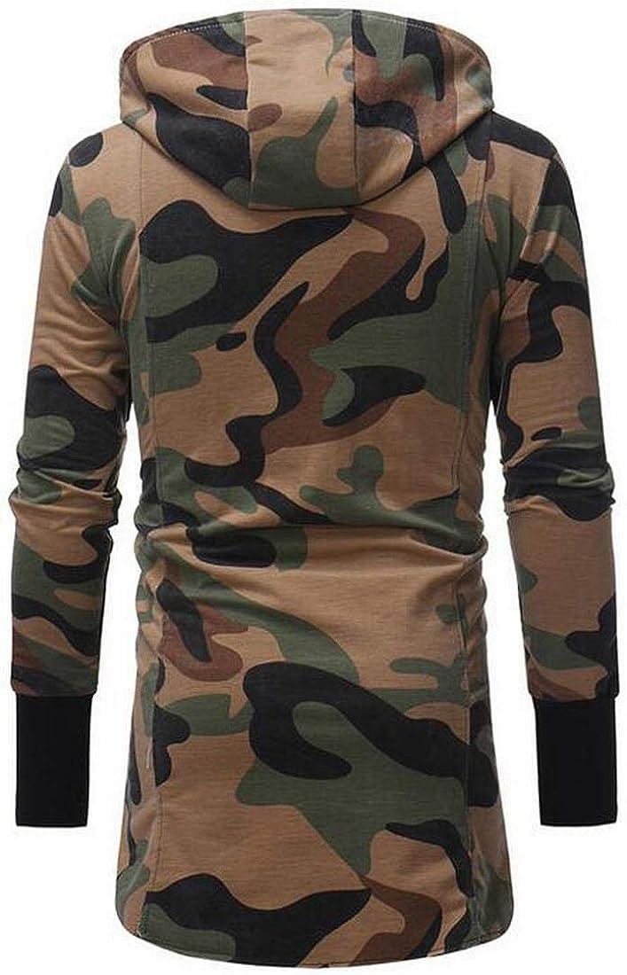 Bravepe Men Mid Length Camouflage Hooded Cardigan Trench Coat Jacket Overcoat
