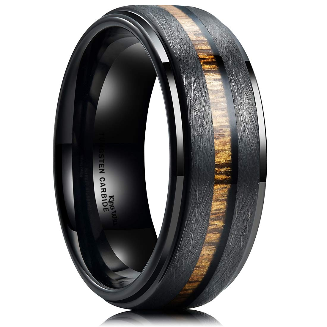 King Will Nature 8mm Black Tungsten Carbide Wedding Band Real Wood Inlay Matte Brushed Finish