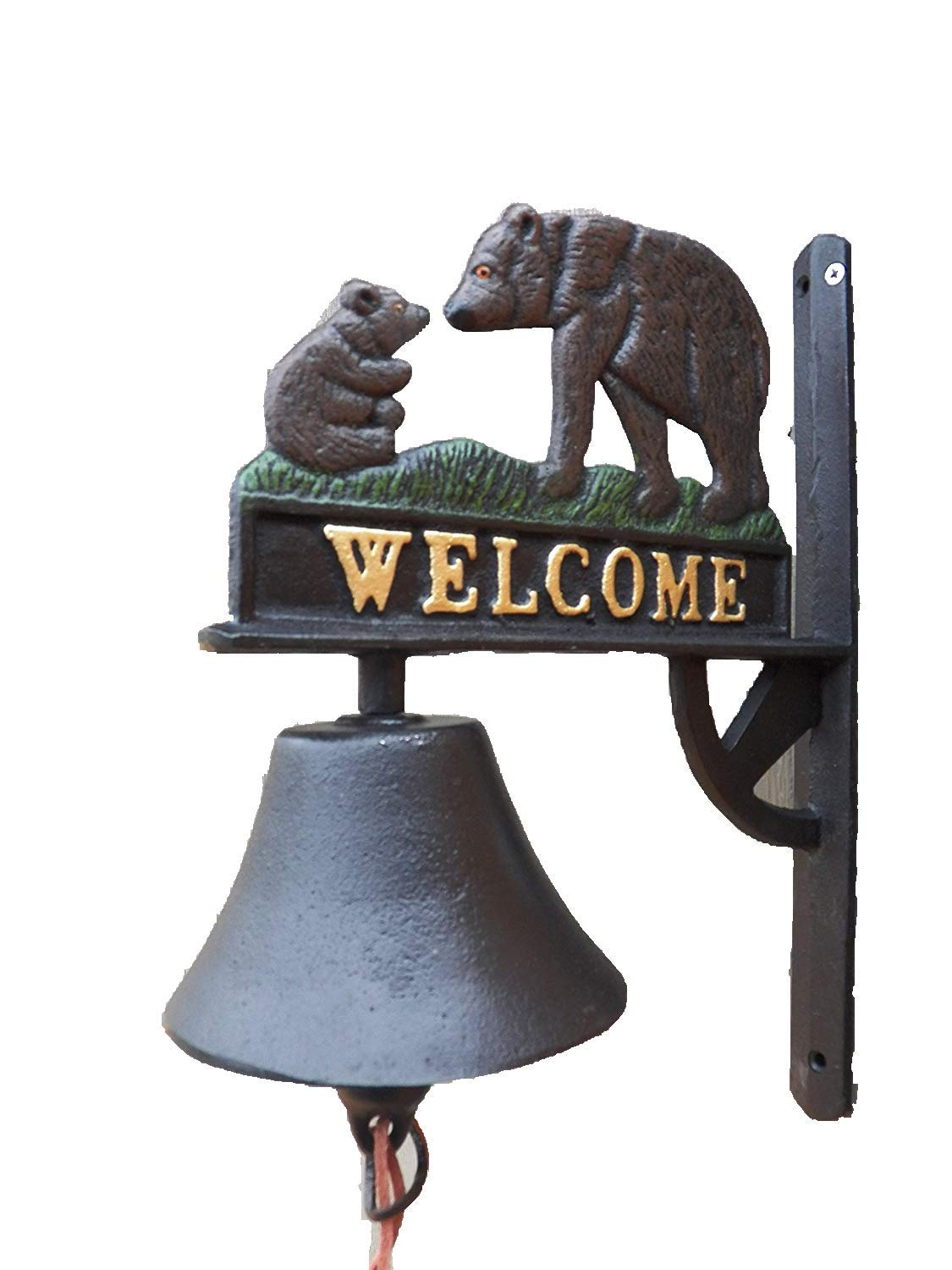 Antique-Style Cast Iron Painted Bears Motif Welcome Dinner Bell Windchime Wind Chime Grizzly