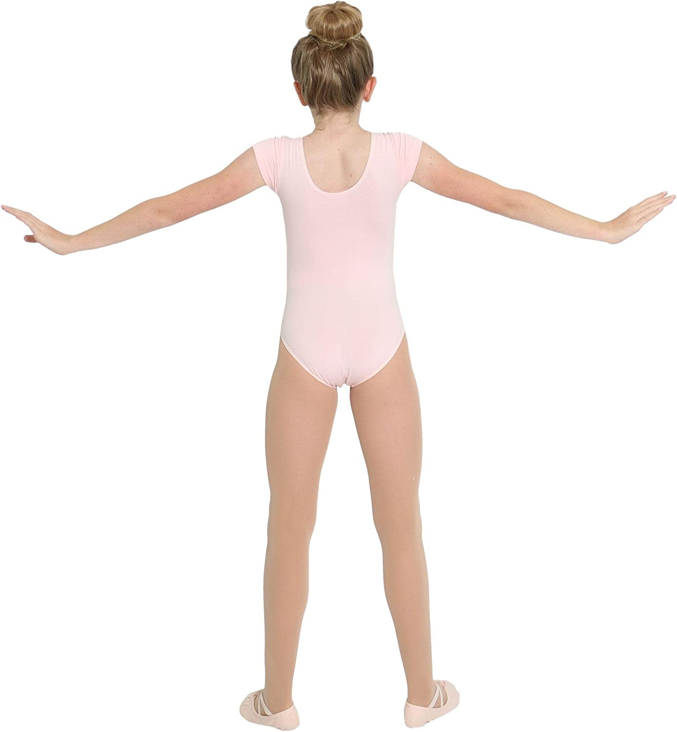 Danzcue Girls Cotton Short Sleeve Ballet Cut Leotard