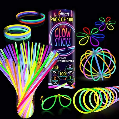 Ammy Glow 100 Premium Ultra Bright Glow Party Pack 8 inch with Connectors as Dark Party Supplies Emergency Light Sticks Neon Glow Bracelets Necklaces for Kids -Multicolored Camping Accessories 205 Pcs