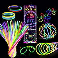 Premium Glow Sticks 100 Bulk Ultra Bright Glow Party Pack 8 inch with Connectors, Glow Sticks Party Supplies Emergency…