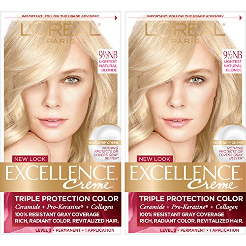 L'Oréal Paris Excellence Créme Permanent Hair Color, 9.5NB Lightest Natural Blonde, 2 COUNT 100% Gray Coverage Hair Dye