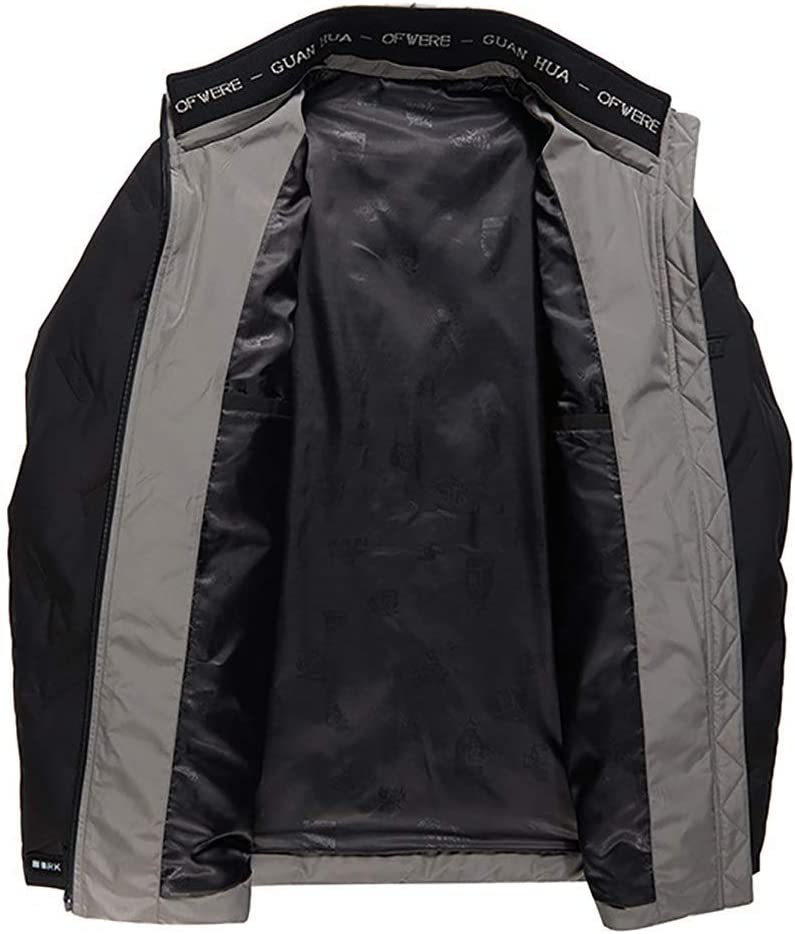 Piumino da Uomo alla Moda, Giacca Casual con Colletto alla Coreana Corto, Cappotto Invernale Caldo e Freddo Nero vWt8d