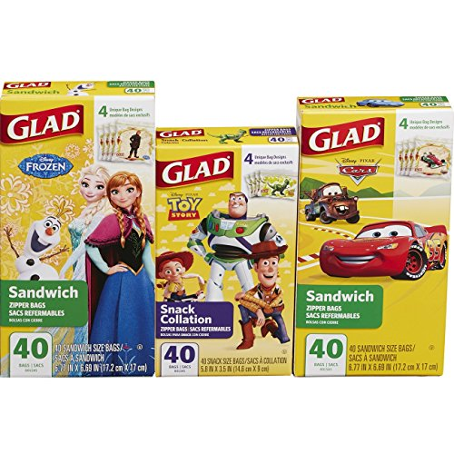 Glad Zipper Food Storage Bags - Sandwich Bag and Snack Bag Variety Pack - Disney Pack - 40 Count - 3 pack by Glad