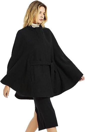 Women Luxury Winter Warm Long Sleeve Cape Coat Outwear Pockets Poncho Jacket