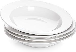 DOWAN Pasta Bowls, Rim Soup Bowls, Porcelain Salad Bowls, 20 Ounces, Set of 4, White