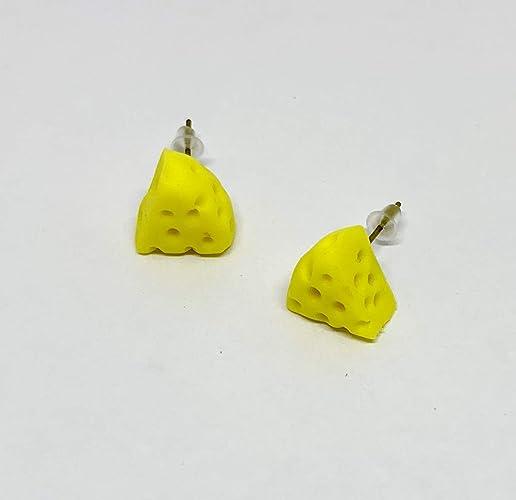 182d7fa1d2a5c Amazon.com: Yellow Cheese Slice Dollhouse Miniature Stud Earrings ...