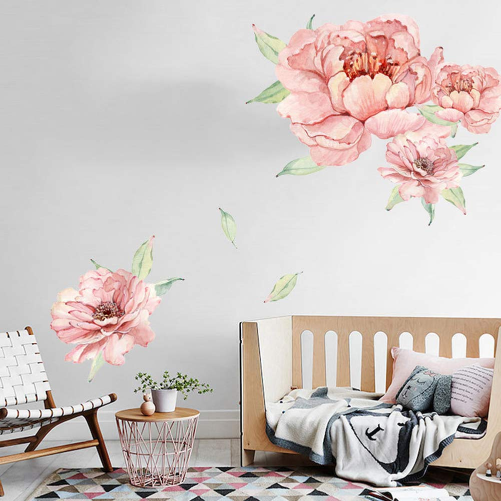 Pink 2 Peonies Blossom Wall Stickers Pink Rose Peel and Stick for Girls Child Room Livingroom Home Bedroom Nursery Room Wall Decor Watercolor Rose Wall Sticker Floral Peony Flowers Wall Decals