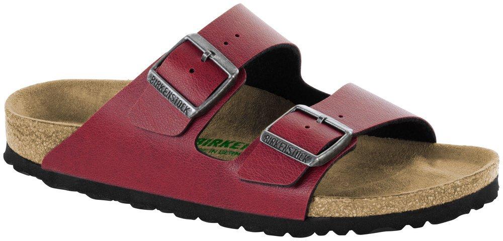Birkenstock Womens Arizona Vegan Fashion Birko-Flor Twin Buckle Sandals - Pull Up Bordeaux Vegan - US5/EU36