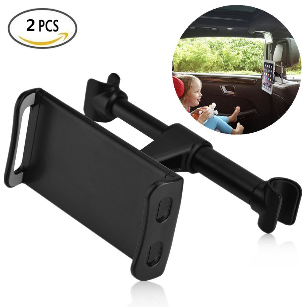 Car Headrest Mount, 2Pcs Universal Rotatable and Extendable Car Back Seat Holder Stand Use for 4-11 Inch Mobile Phone Tablet without No Scratches but Easy to Install and Remove(Black)
