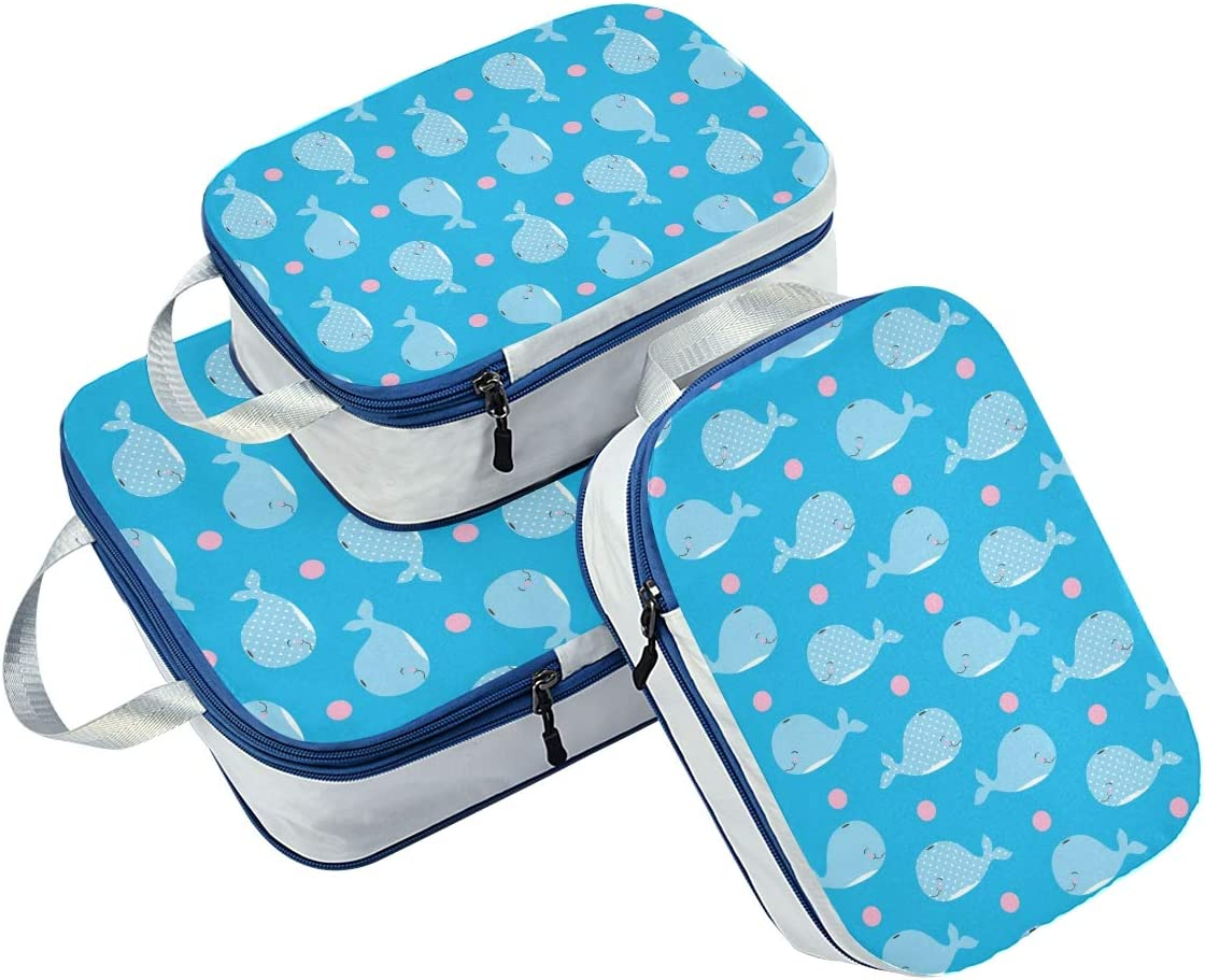LUPINZ Happy Baby Whale Pattern Travel Luggage Packing Organizers 3 Pieces Travel Cubes