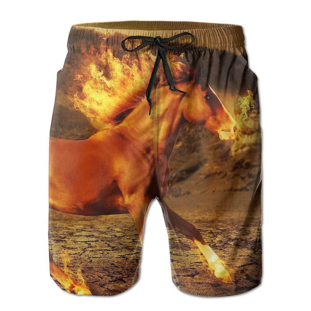 Horse Fire Fit Mens Shorts Beach Swim Trunk Summer