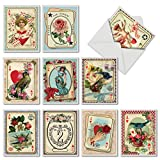 M2381VDG-B1x10 All Decked Out: 10 Assorted Valentine's Day Note Cards Featuring Romantic Collage Images Combined with Vintage Playing Cards, w/White Envelopes.