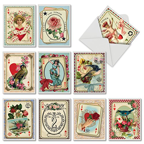 All Decked Out - 10 Assorted Boxed Valentines Day Cards with Envelopes (Small 4 x 5.12 Inch) - Vintage Happy Valentine's Greeting Notecards with Classic Floral Designs, Birds M2381VDG-B1x10 (Classic Day Valentines Cards)