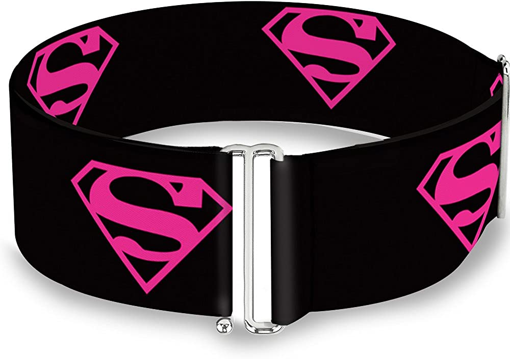 Electric Supergirl Shield//Swirl Black//Gray//Hot Pink//Yellow 1.5 Wide 24-38 Inches in Length Buckle-Down Seatbelt Belt