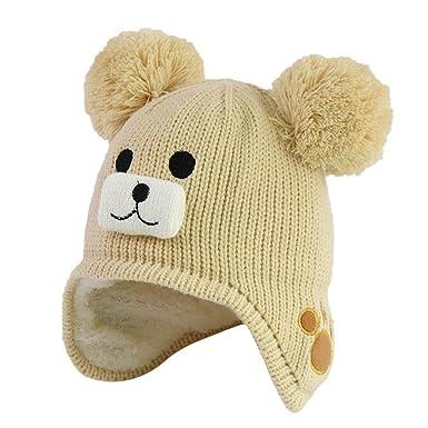 Sunenjoy Enfant Chapeau Hiver Bonnet Chaud Tricot Coton avec Pompon Fausse  Fourrure Cache Oreille Doublure Peluche c8bd72a1863