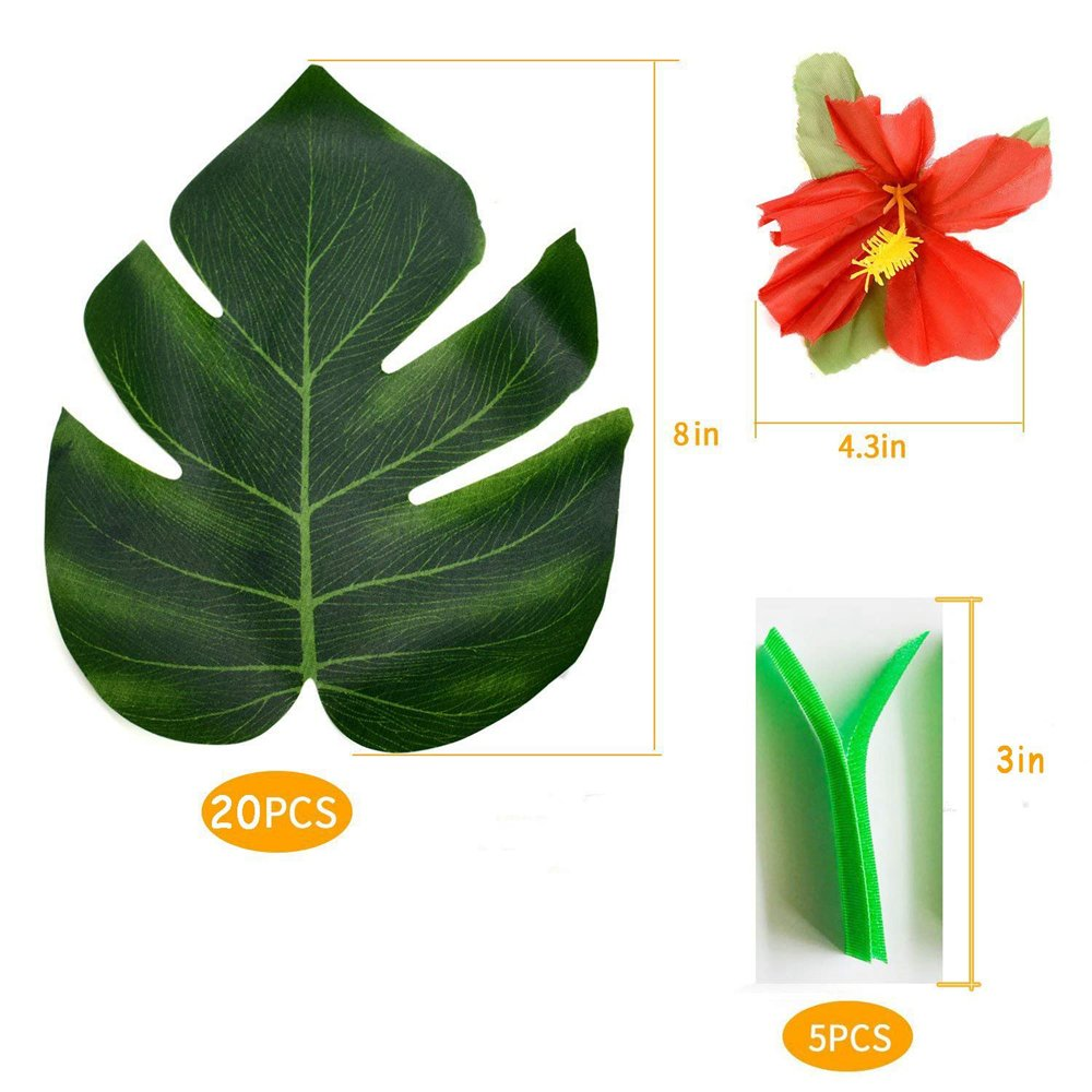 Hawaiian Luau Party Supplies-1 Pack Grass Table Skirt 9ft,20 Pcs Tropical Faux Palm Leaves5Pcs Adhesive Hook & Loop for Hula, Luau, Maui, Hawaiian, Moana Themed Party(26pcs) by COCOScent (Image #3)