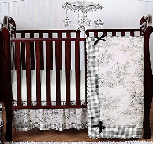 Black French Toile Baby Boy or girls Unisex Bedding 4 Piece Crib Set Without Bumper by Sweet Jojo Designs