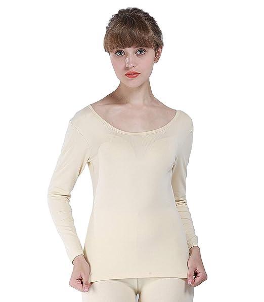 Mujer Camiseta De Calor Manga Larga Cuello Redondo Warm Otoño Top Termo Slim Fit Invierno Cómodo