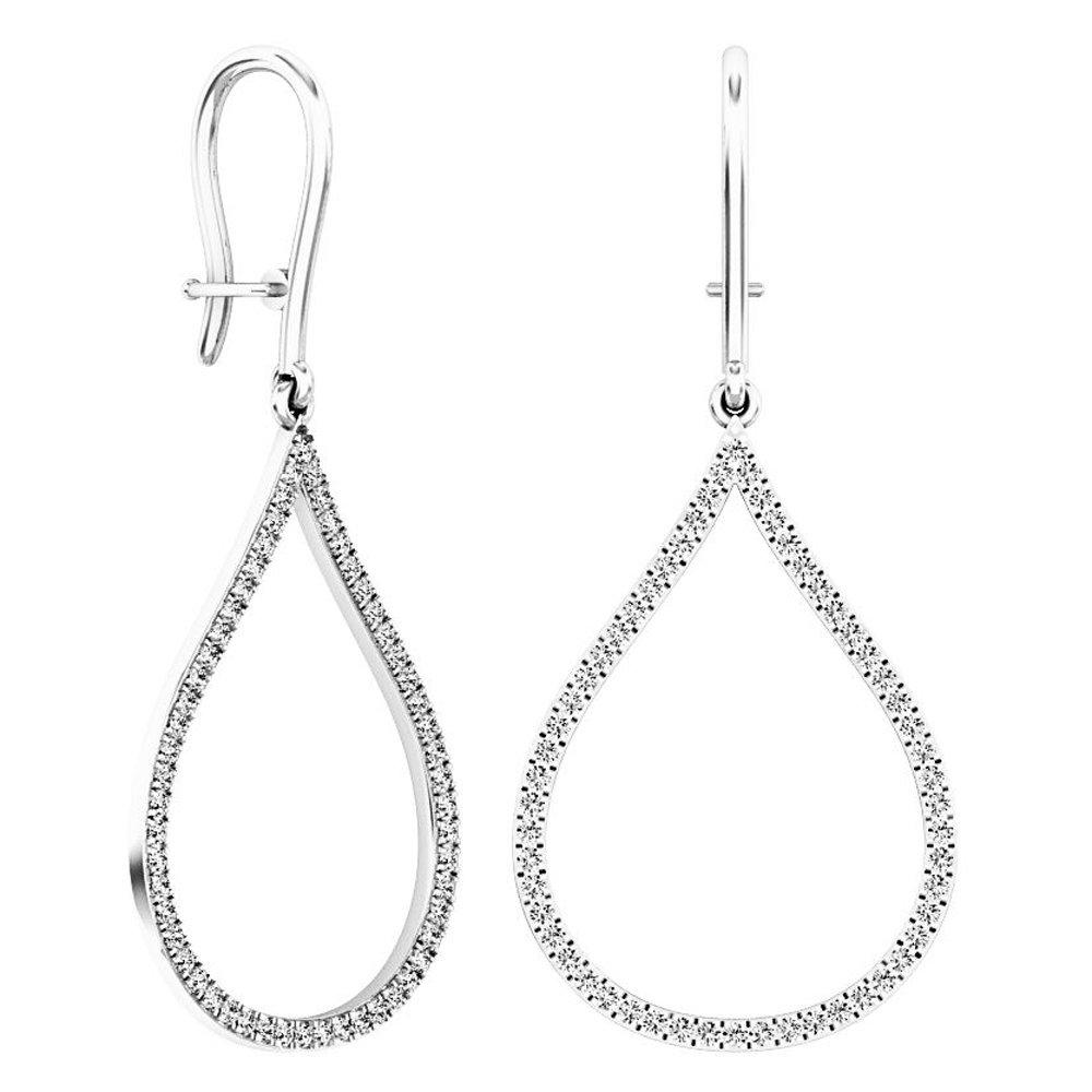 0.45 Carat (ctw) 14K White Gold Round White Diamond Ladies Teardrop Dangling Earrings 1/2 CT
