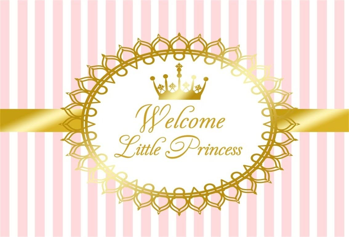 Welcome Baby Shower Party Backdrop 5x3ft Royal Blue Crown Vinyl Photography Background Golden Banner Prince or Princess Children Boys Celebration Photo Props Decoration Wallpaper