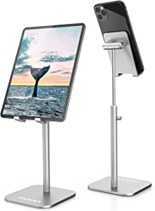 ODOSOLA Cell Phone Stand, Newly-Upgraded Angle/Height Adjustable Mobile Phone Holder for Desk Home, 4-11'' Eye-Level Aluminum iPad Stand Holders Compatible with iPhone iPad Kindle(Silver)