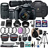 Canon EOS Rebel T7i DSLR Camera with Canon EF-S 18-55mm f/4-5.6 is STM Lens + Canon EF 75-300mm f/4-5.6 III Lens + 500mm Preset Lens + 2X Memory Cards + 50 Tripod + Accessories Bundle (25 Items)