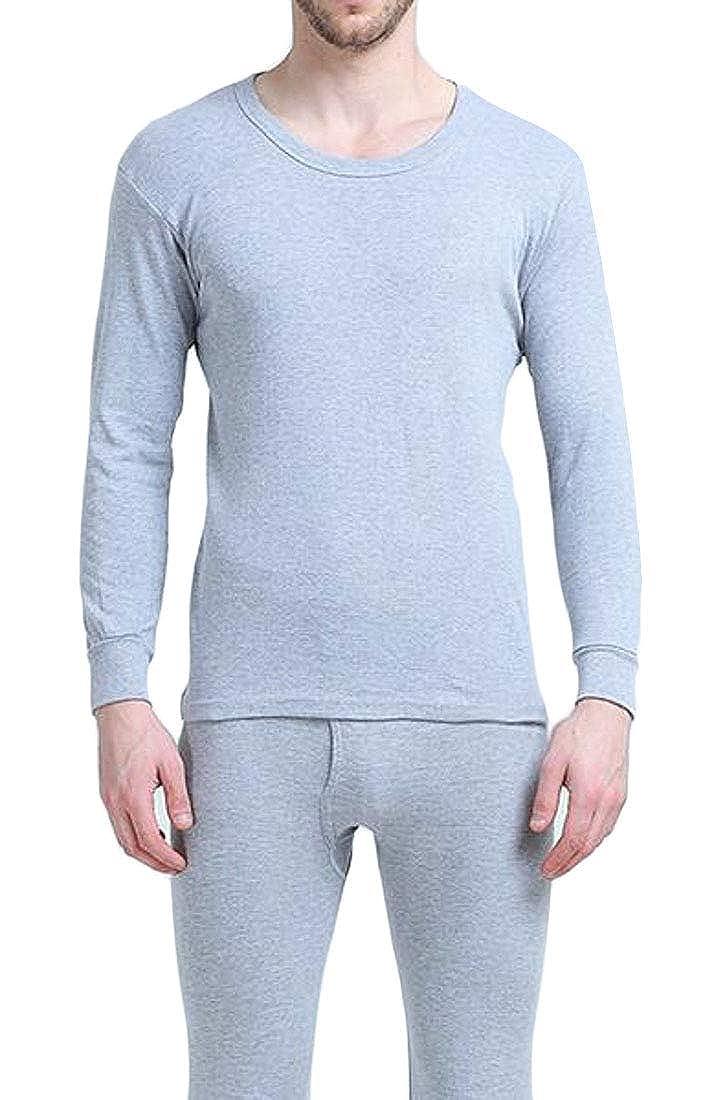 SELX Men Thermal Crew Neck Underwear Set 2 Pc Cotton Top & Bottom