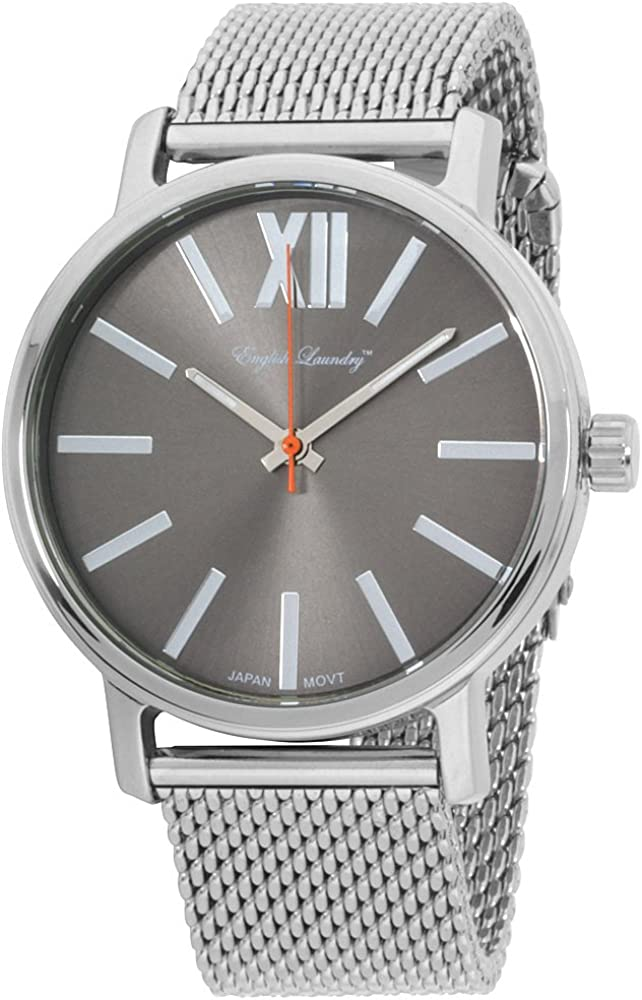 English Laundry Men's Watch EL7958S236-212 Stainless Steel, Grey Dial, Mesh Bracelet