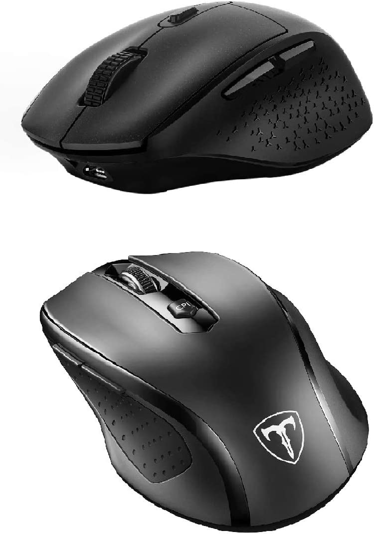 VicTsing 2 Pack Wireless Mouse Set, Wireless Mouse & Rechargeable Mouse, Comfortable Ergonomic Mouse -Fits Nicely to Your Right Hand, 5 Adjustable DPI /6 Button, Computer Mouse for Laptop PC MacBook
