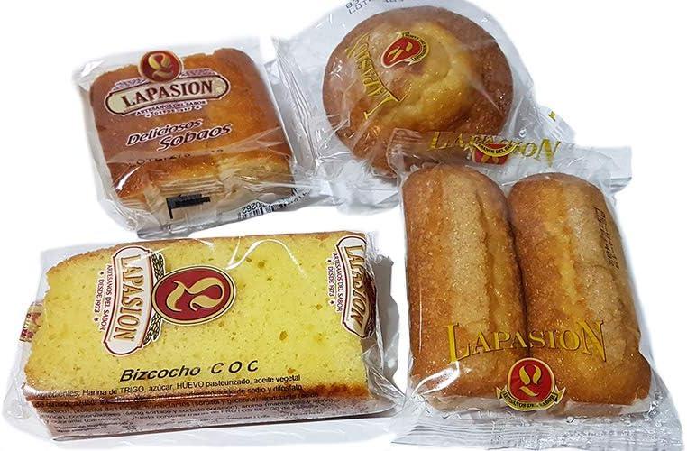 LAPASION - Caja Surtida Desayunos | Sobaos | Magdalena larga | Bizcocho Coc | Magdalena redonda | Ideal para desayunos | 2 Kg