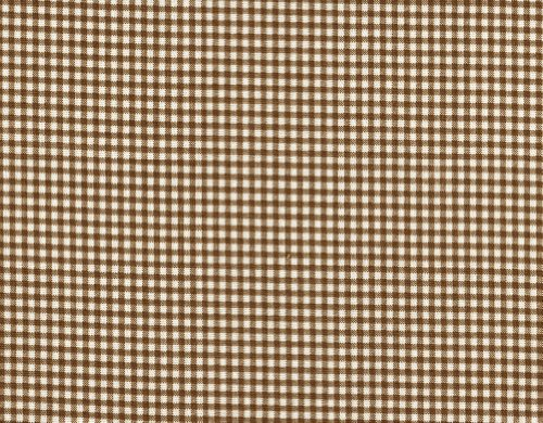 French Country Suede Brown Gingham Check Bradford Valance with Gingham Back Layer