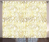 """Futuregrace Contemporary Blackout Curtains, Abstract Ornament Exotic Animal Pattern Style Feminine Glamor Print, 2 Panels Room Darkening Window Curtains, 54"""" W by 39"""" L, Gold Yellow and White"""
