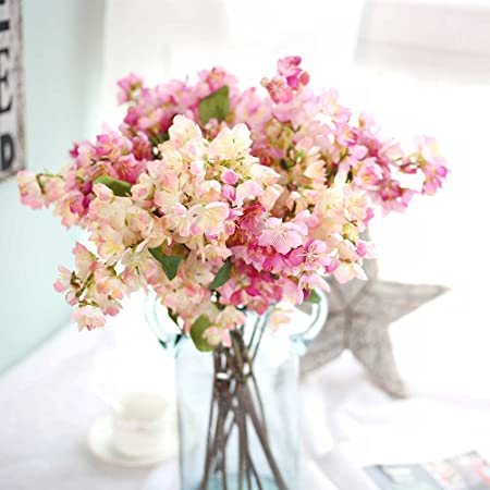 Artificial flowers fake flowers silk artificial cherry blossom artificial flowers fake flowers silk artificial cherry blossom bridal wedding bouquet for home garden party mightylinksfo