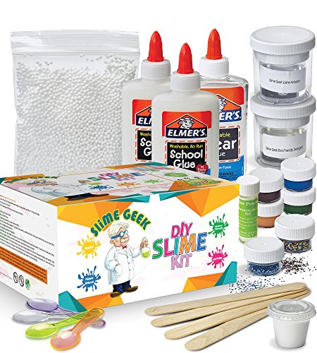 Slime Geek DIY Slime Kit -How to make slime , Make Glow-In-The Dark, Clear and Glitter Slime - Comes With Airtight Containers for Slime Storage - Comes with Recipes and Bonus E-Book