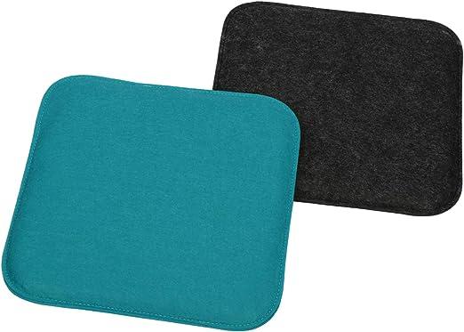 Balcone 02 Pezzi - Quadrato Antracite//Blu Cuscini per sedie e panche Cuscino di Seduta Quadrato per Sala da Pranzo com-four/® 2X Set di Cuscini di Seduta Imbottiti Giardino 35 x 35 x 2 cm