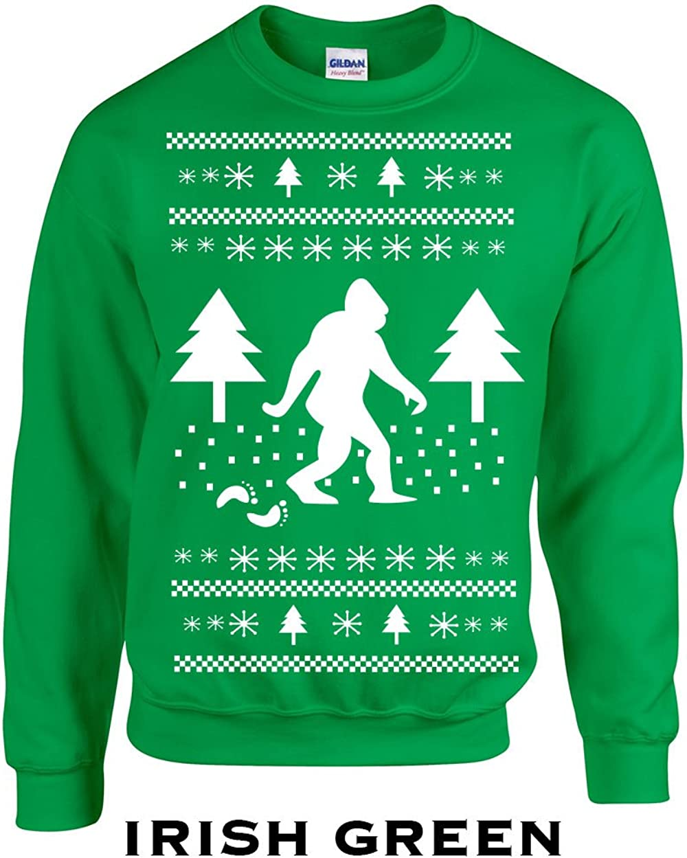 Swaffy Tees 359 Sasquatch Christmas Funny Adult Crew Sweatshirt