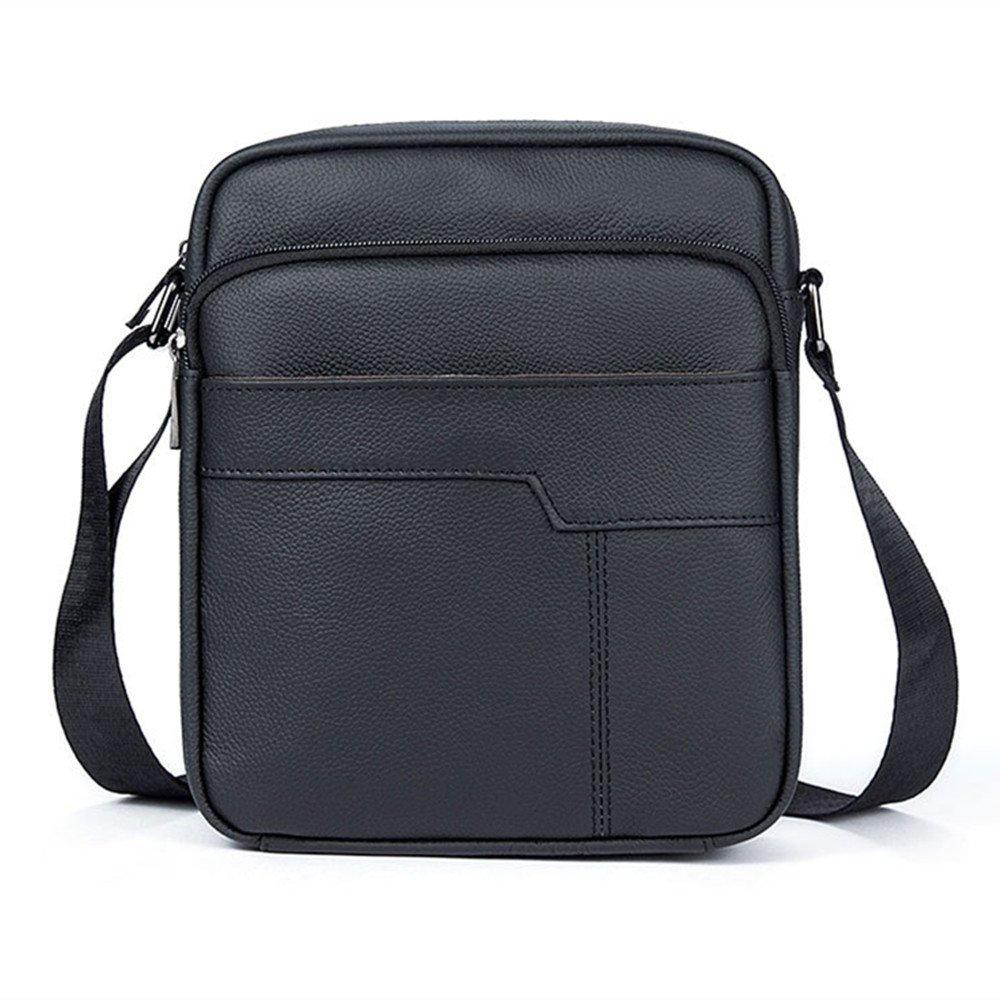 LixingメンズヴィンテージGenuineレザーMessenger Bag Smallスリングバッグ  ブラック B076FC5PY6