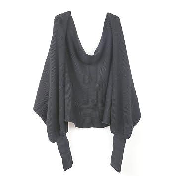 WINOMO Automne hiver unisexe tricoté écharpe châle de Cape avec manches  gris foncé dcab0db6295