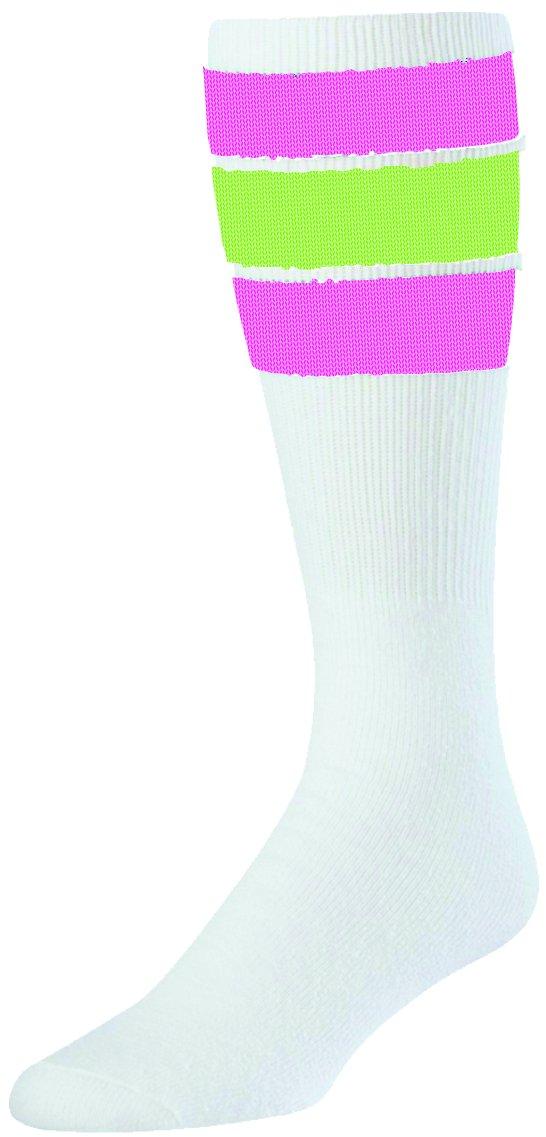 TCK レトロ3ストライプ チューブソックス B01L7A5MJ0 Medium|Hot Pink/Neon Green Hot Pink/Neon Green Medium
